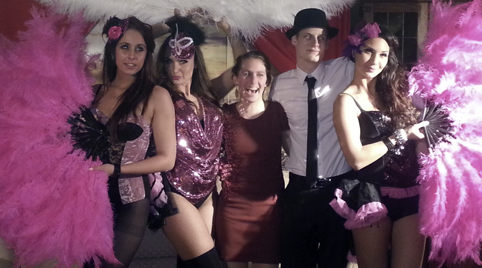 Burlesque dancers party